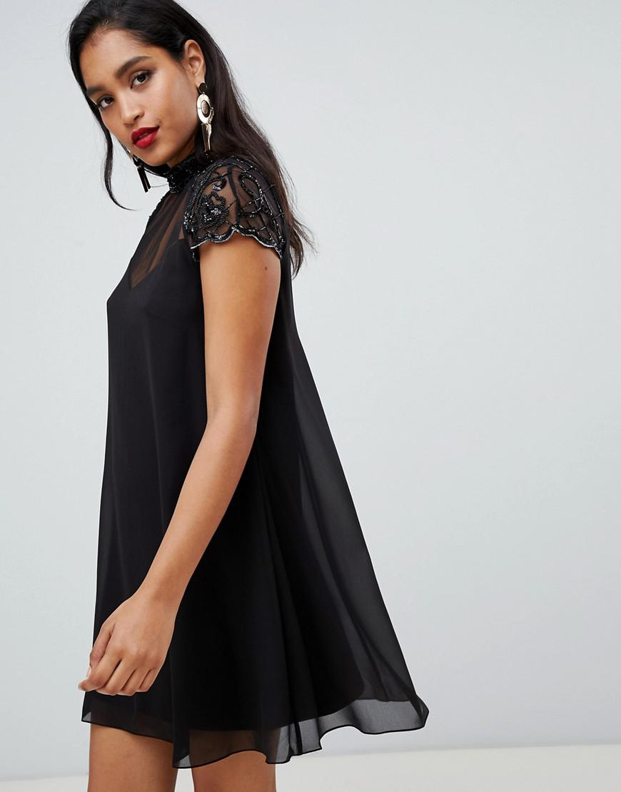 71706112723 Lyst - Lipsy Swing Babydoll Dress With Lace Sleeve in Black