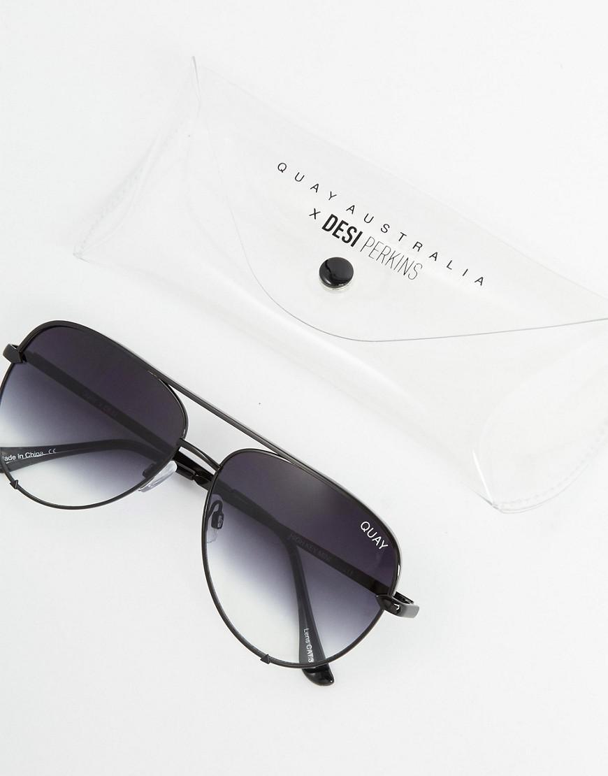 6c04e9450f0 Lyst - Quay X Desi High Key Mini Aviator Sunglasses In Black Fade in Black  for Men