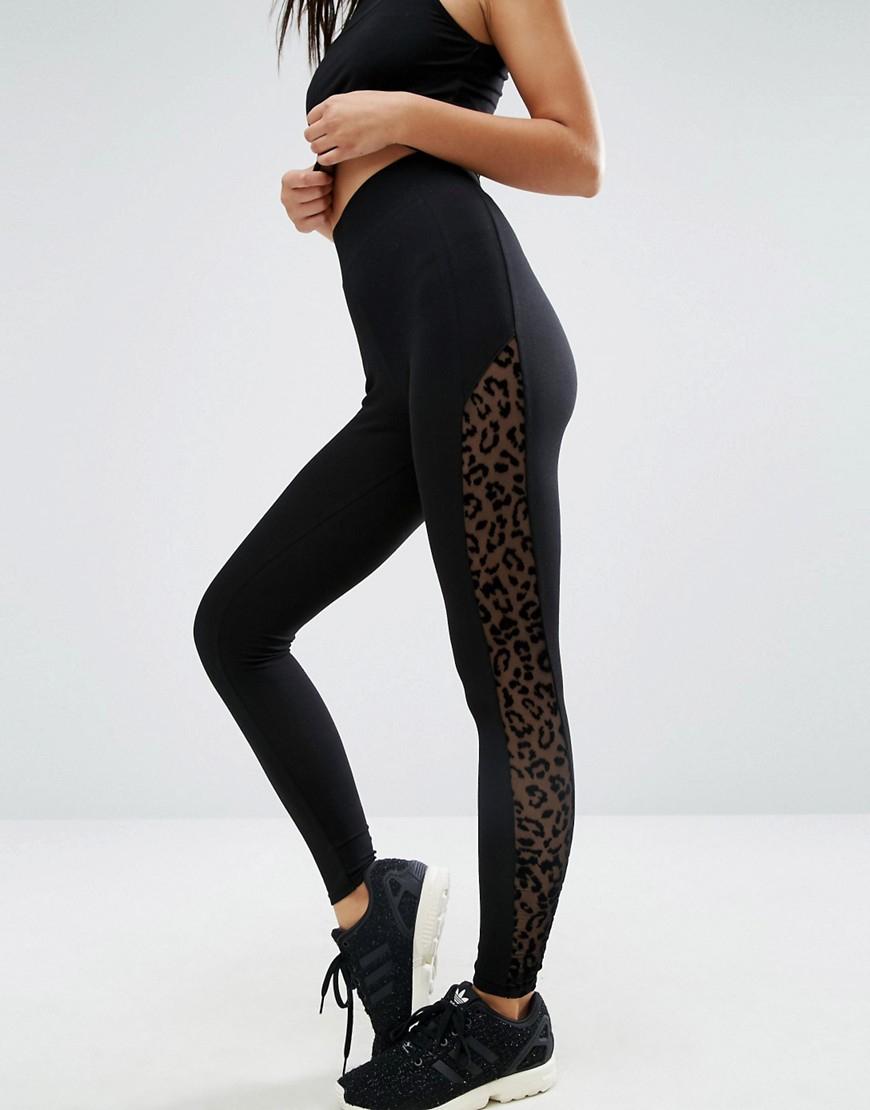 Lyst Asos Leggings With Leopard Mesh Side Stripe In Black