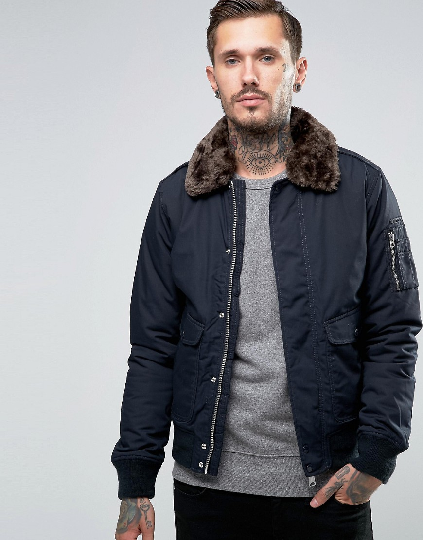 schott nyc air bomber jacket faux fur collar in blue for men lyst. Black Bedroom Furniture Sets. Home Design Ideas