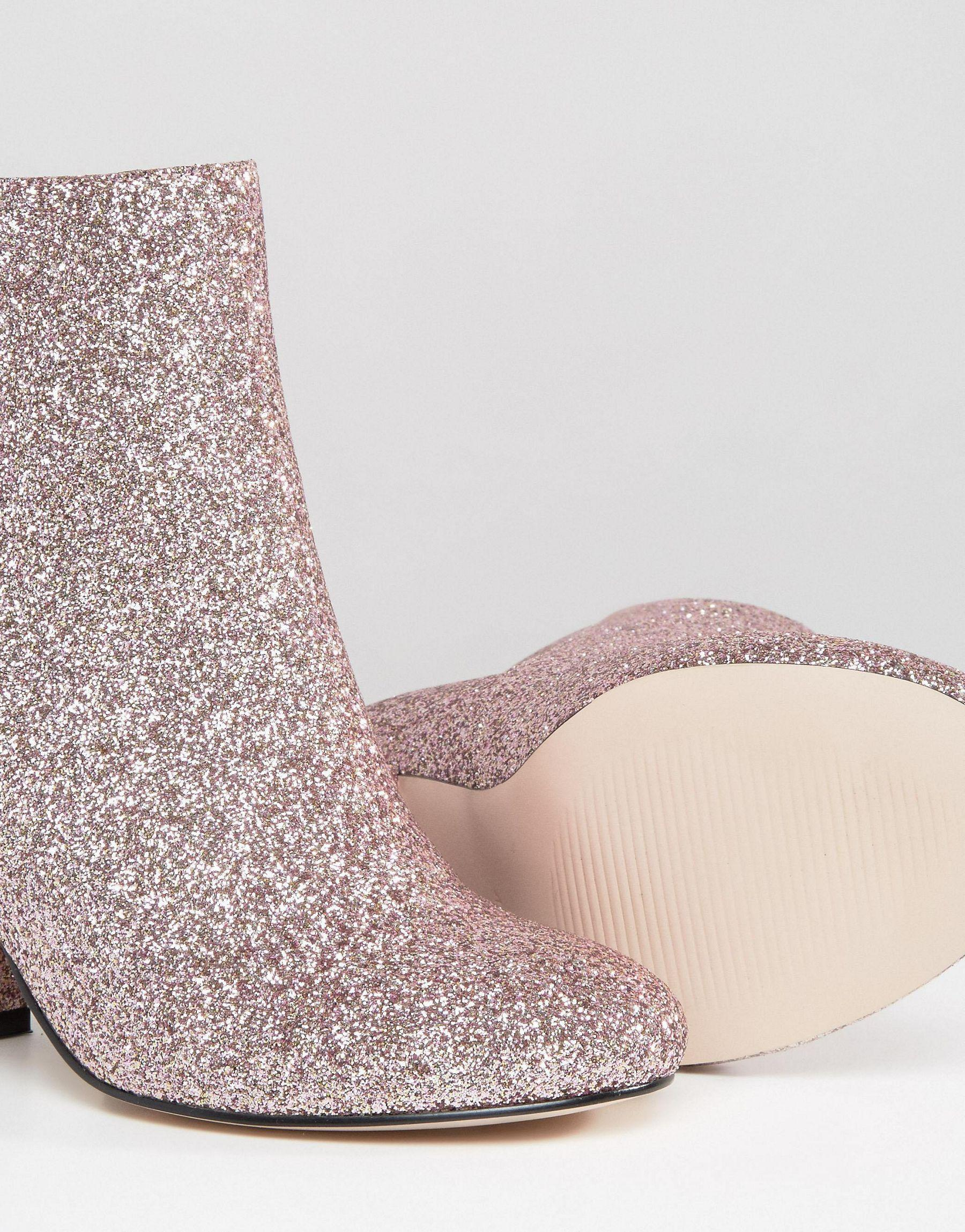 2951d28a5428 Lyst - ASOS Regan Wide Fit Mid Heel Ankle Boots in Pink