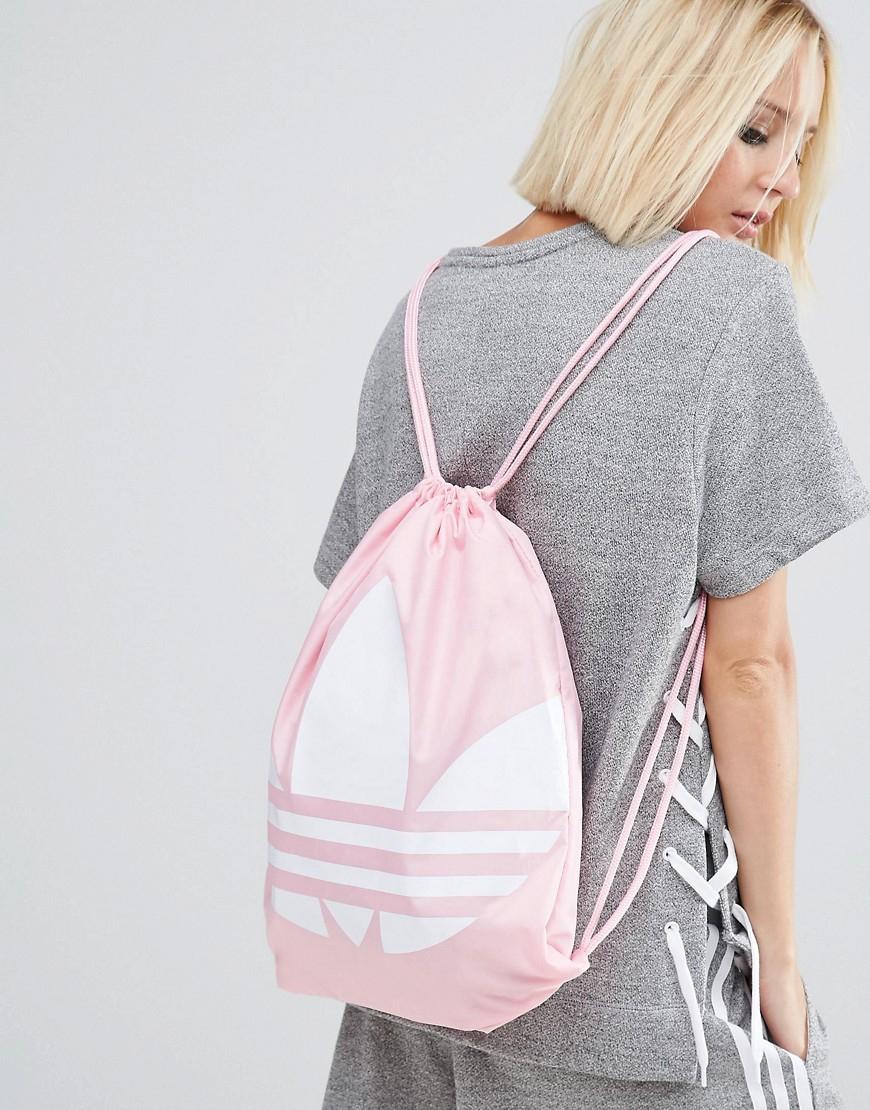 ec3fe377c5 Lyst - adidas Originals Originals Drawstring Backpack With Trefoil Logo -  Pink in Pink