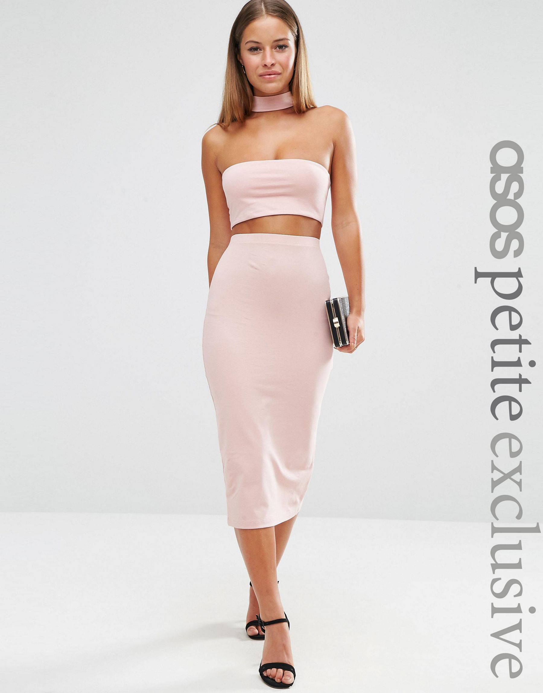 asos midi pencil skirt in jersey co ord in pink lyst