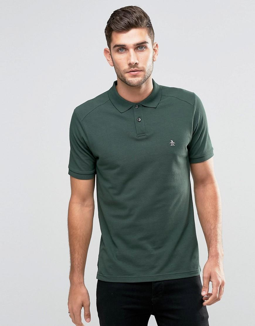 Lyst original penguin slim fit polo shirt in green for men for Golf shirt with penguin logo