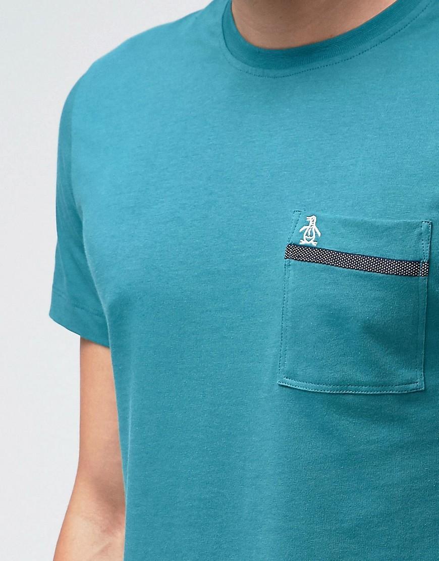 Lyst original penguin tape pocket t shirt in blue for men for Golf shirt with penguin logo