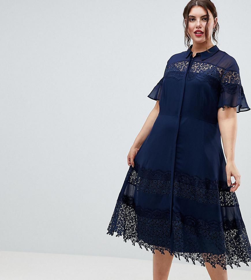 99ef59b5b6936 Asos Design Petite Lace Skater Mini Dress With Velvet Tie Neck – DACC