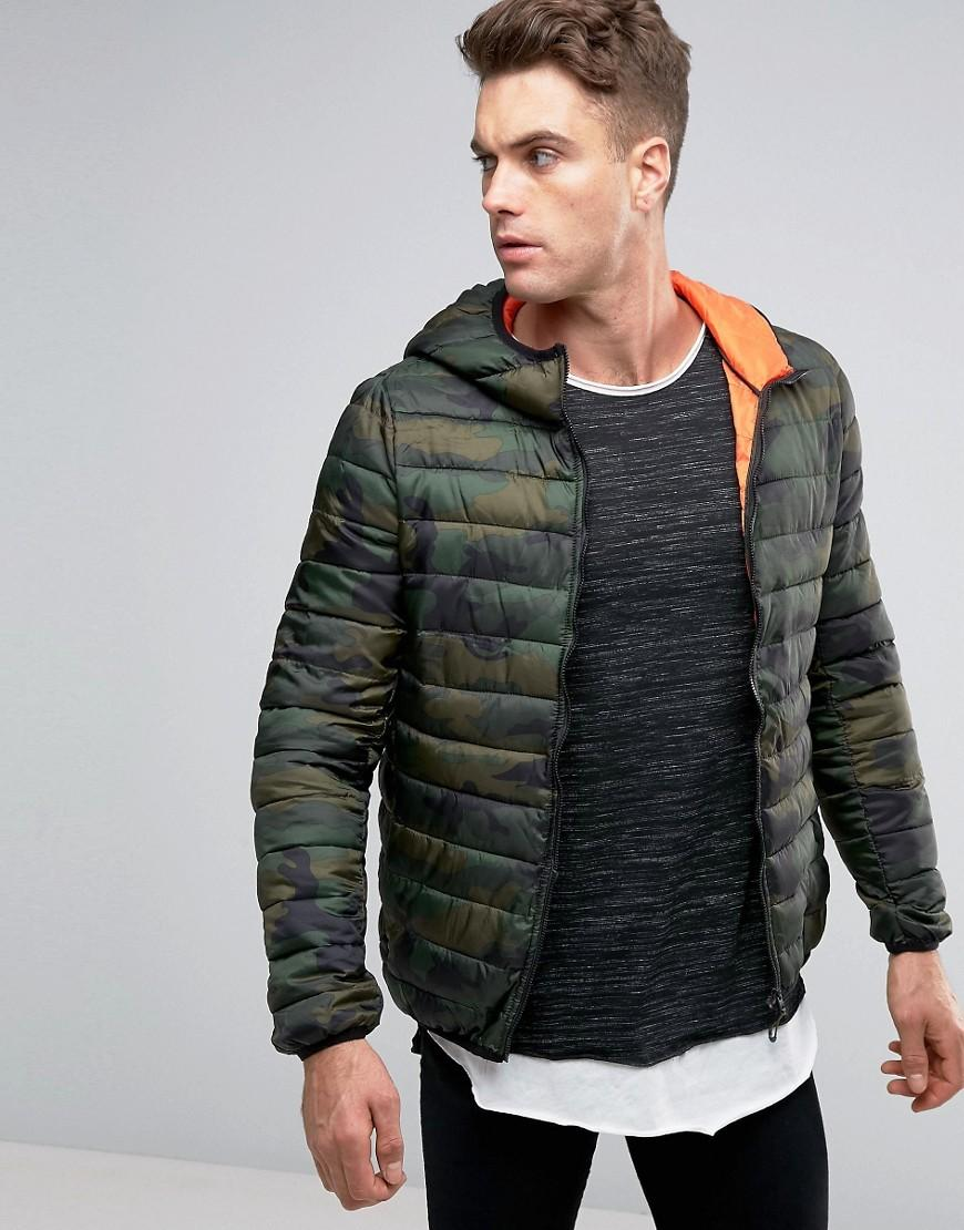 pull bear padded jacket in camo with hood in green for men. Black Bedroom Furniture Sets. Home Design Ideas