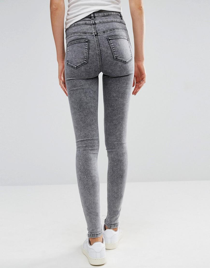 new look acid wash skinny jeans in gray lyst. Black Bedroom Furniture Sets. Home Design Ideas