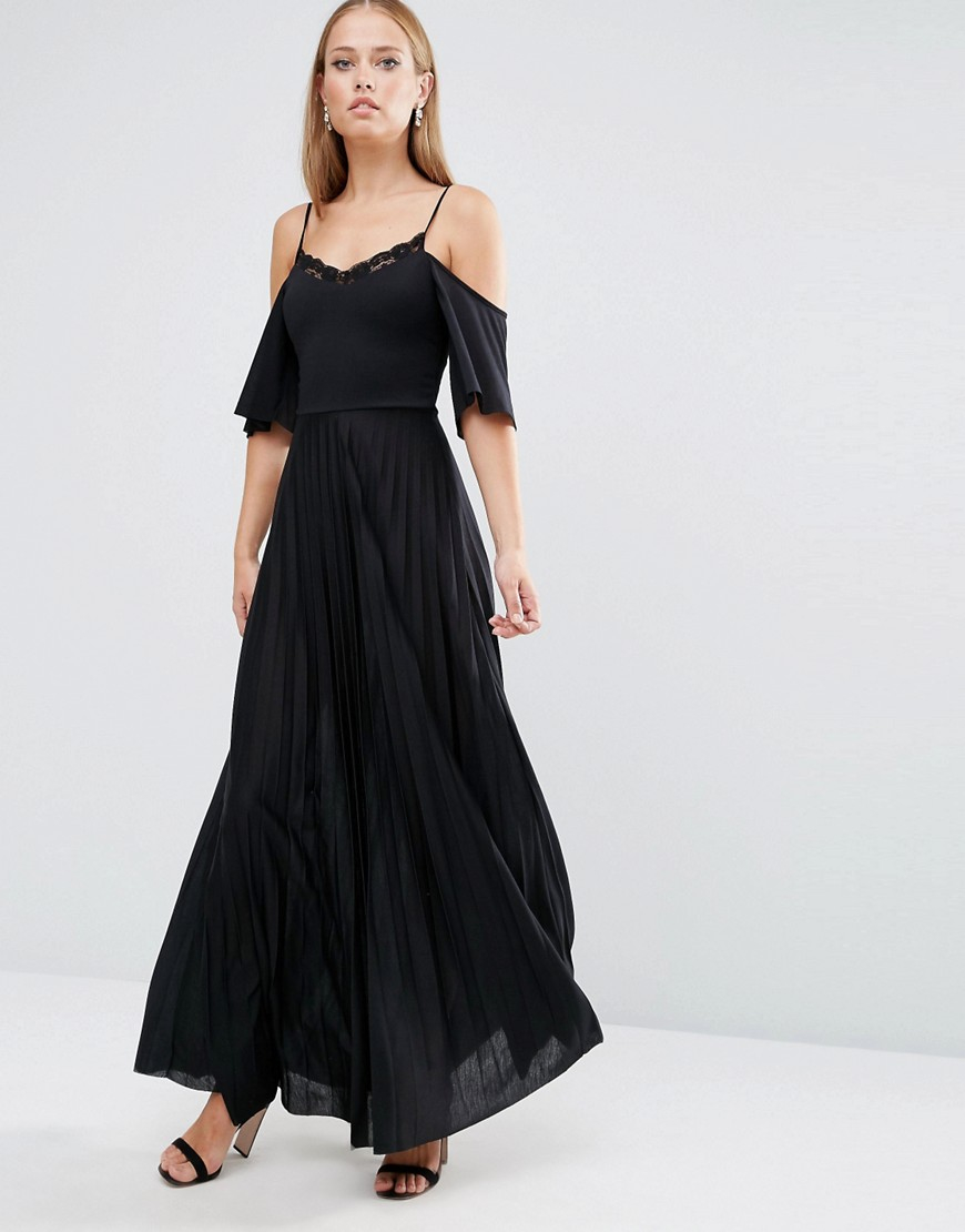 Asos Cold Shoulder Pleated Maxi Dress With Lace Detail In