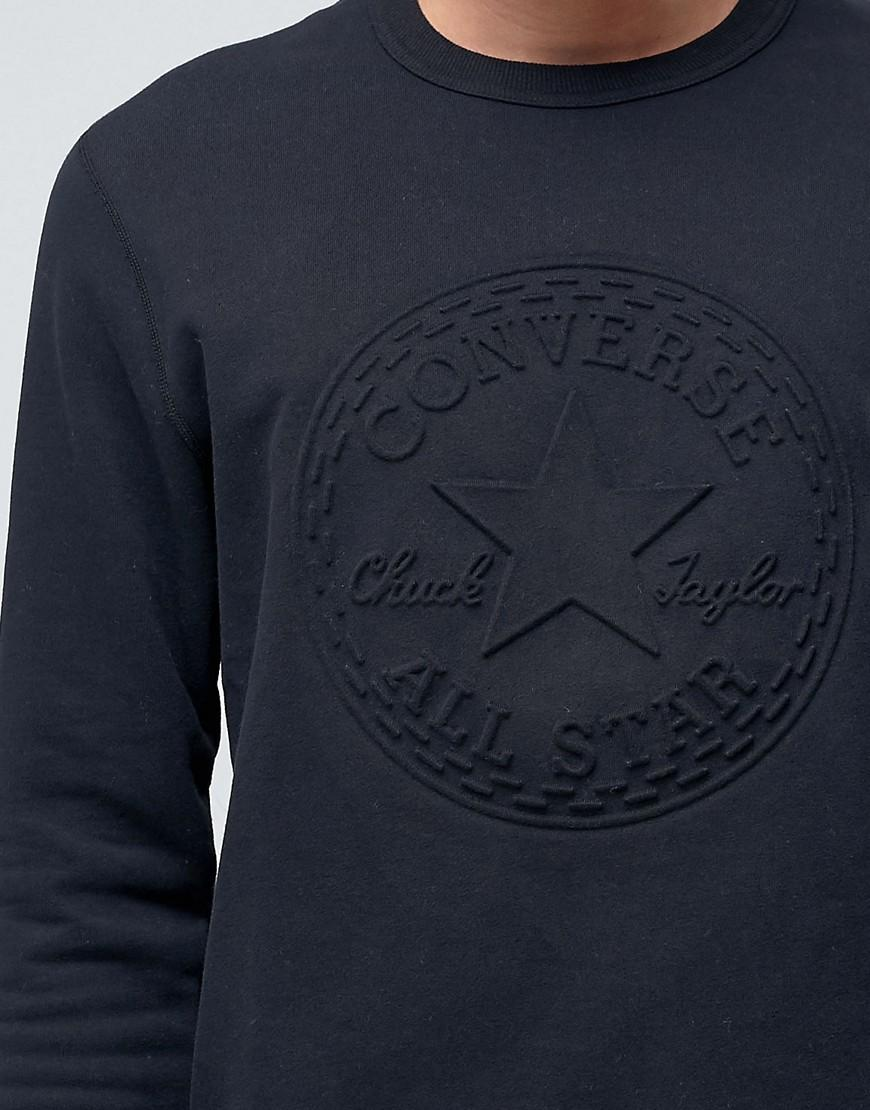 abe29de59bb93d Converse Embossed Graphic Sweatshirt In Black 10001148-a02 in Black for Men  - Lyst