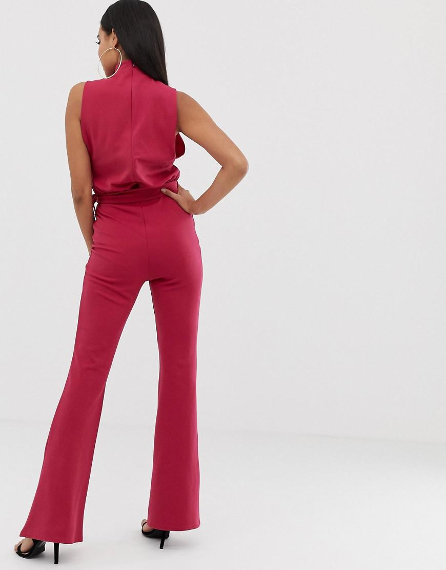 79de5363d680 PrettyLittleThing. Women s Green Scuba High Neck Tie Waist Jumpsuit In  Raspberry