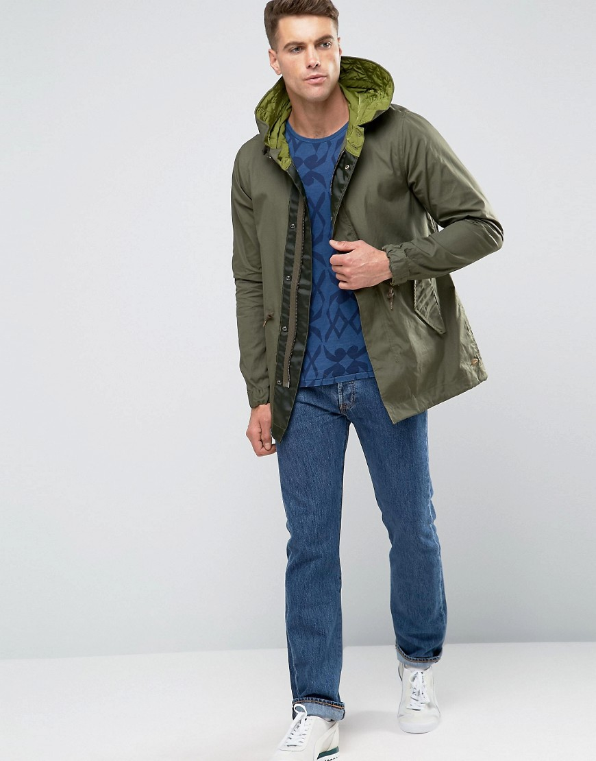 lyst scotch soda scotch and soda parka in green for men. Black Bedroom Furniture Sets. Home Design Ideas
