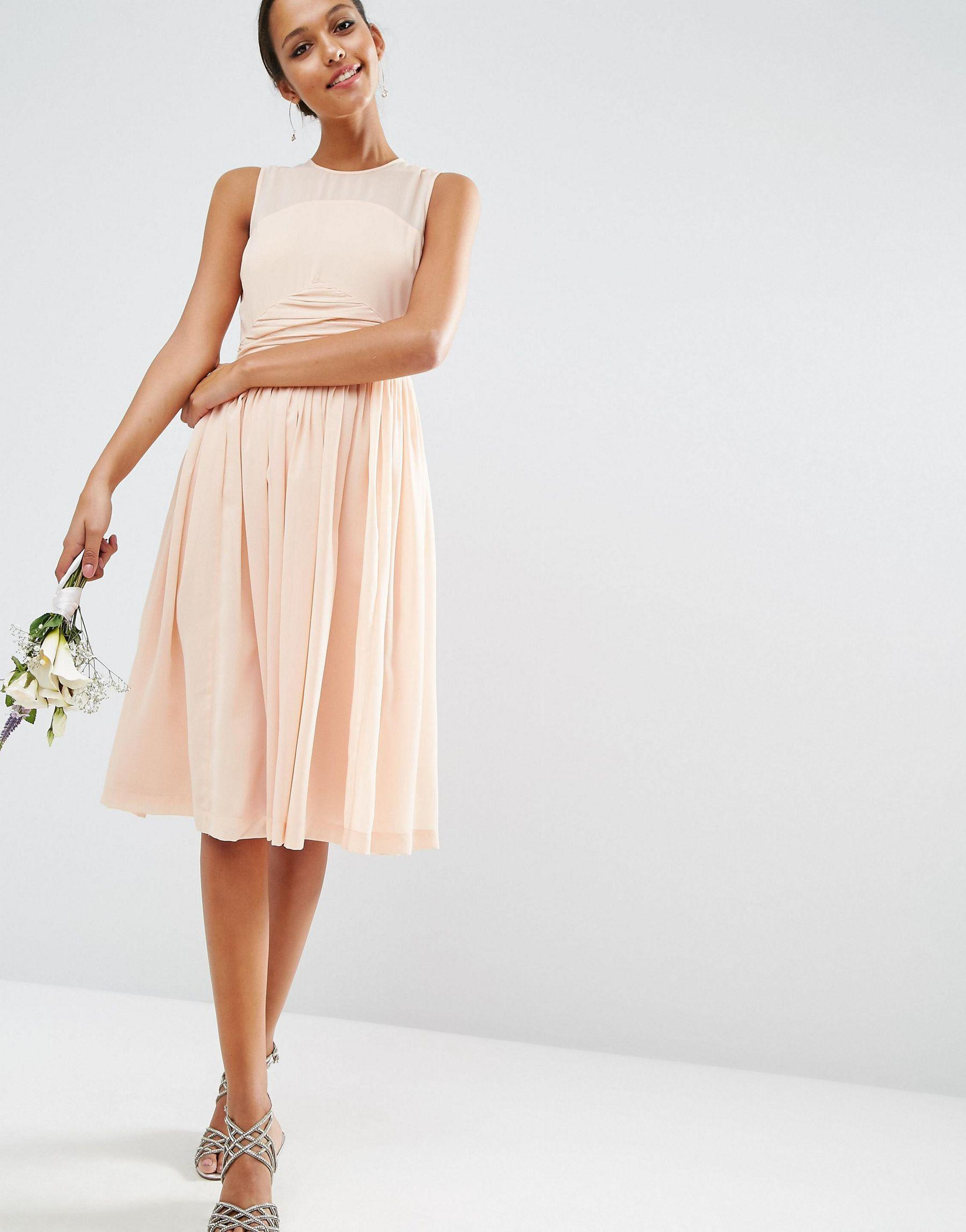 asos wedding midi dress with rouche panel detail in pink. Black Bedroom Furniture Sets. Home Design Ideas