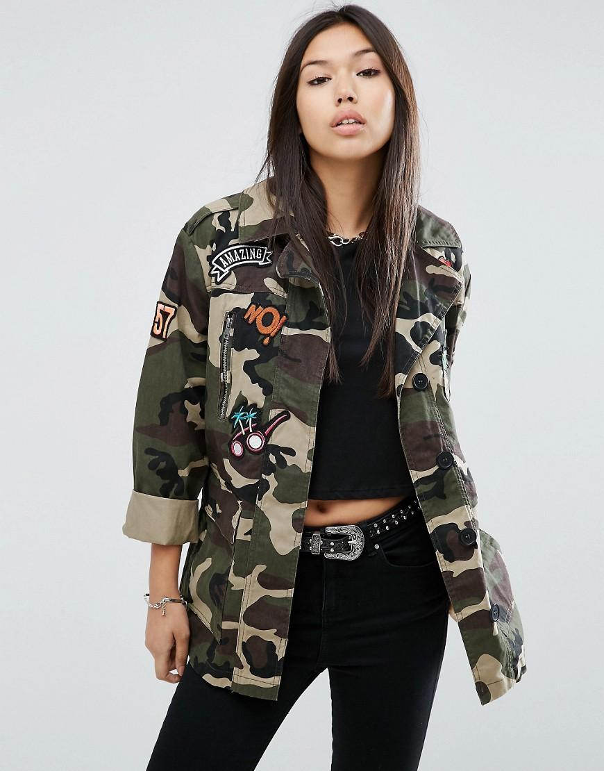 Womens Khaki Army Camo Camouflage Sequin Sleeve Jacket ...  |Camo Jackets For Women
