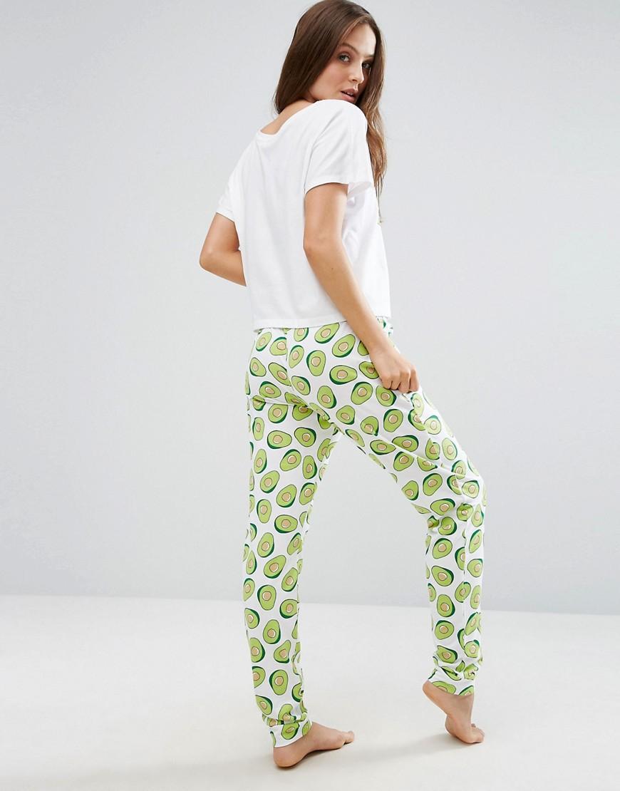 Asos Avocado Print Tee & Jogger Pyjama Set in Green | Lyst