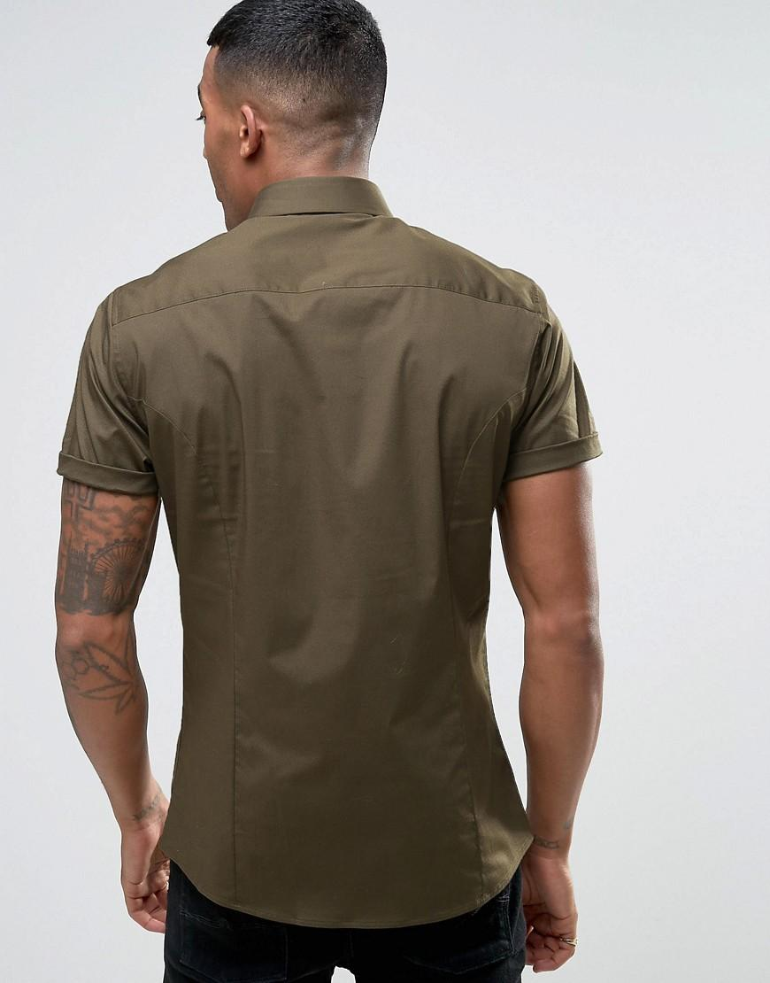 Lyst asos skinny shirt in khaki in green for men Shirts for thin guys