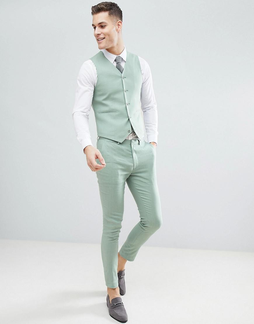 Lyst - Asos Design Wedding Super Skinny Suit Waistcoat In Sage Green ...