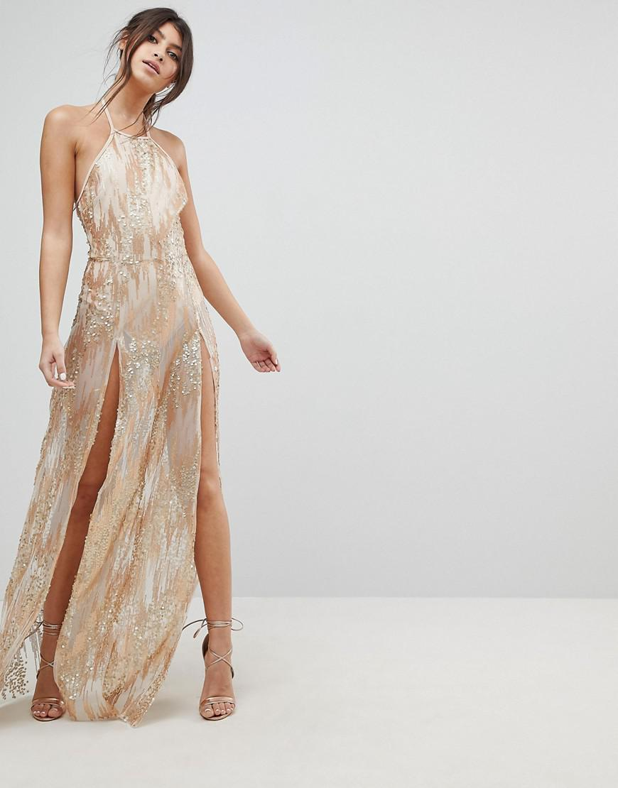 Naanaa Sequin Maxi Dress With Double Thigh Split In