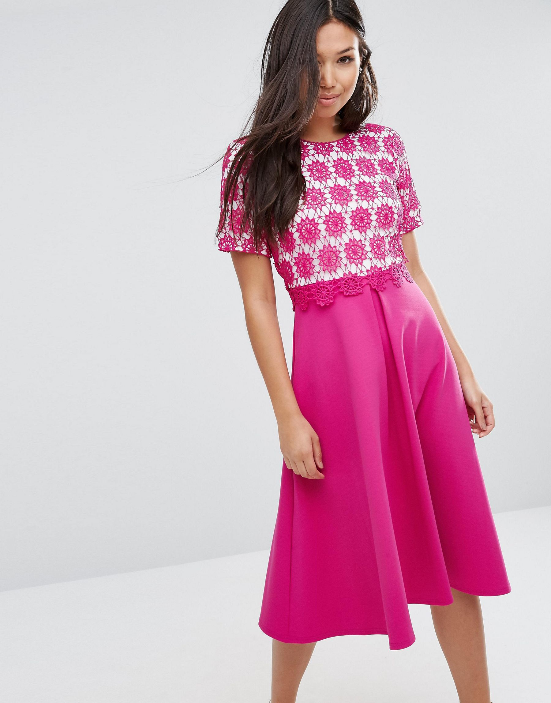 Asos Overlay Lace Midi Dress With Scuba Skirt In Pink Lyst
