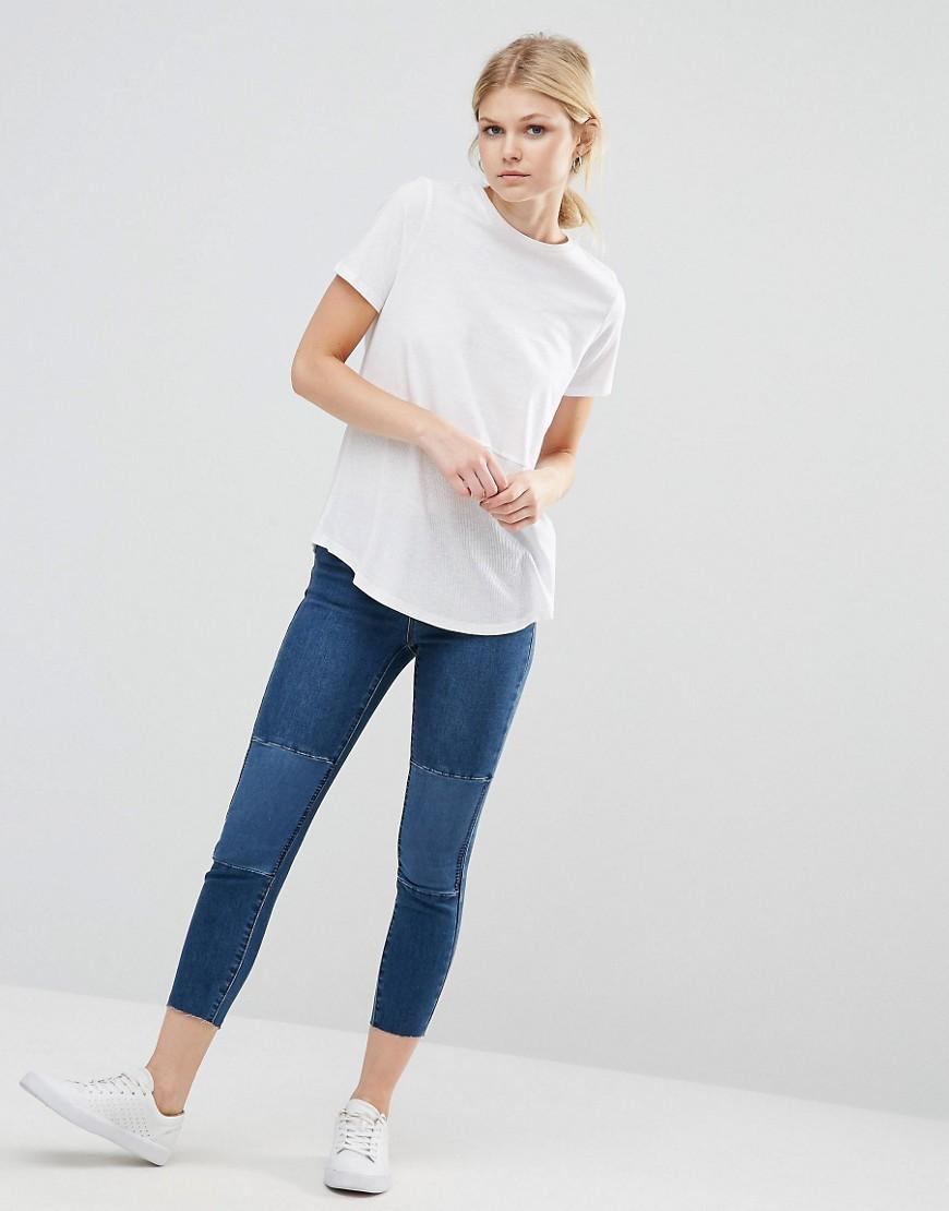 lyst vero moda patch knee skinny jeans in blue. Black Bedroom Furniture Sets. Home Design Ideas