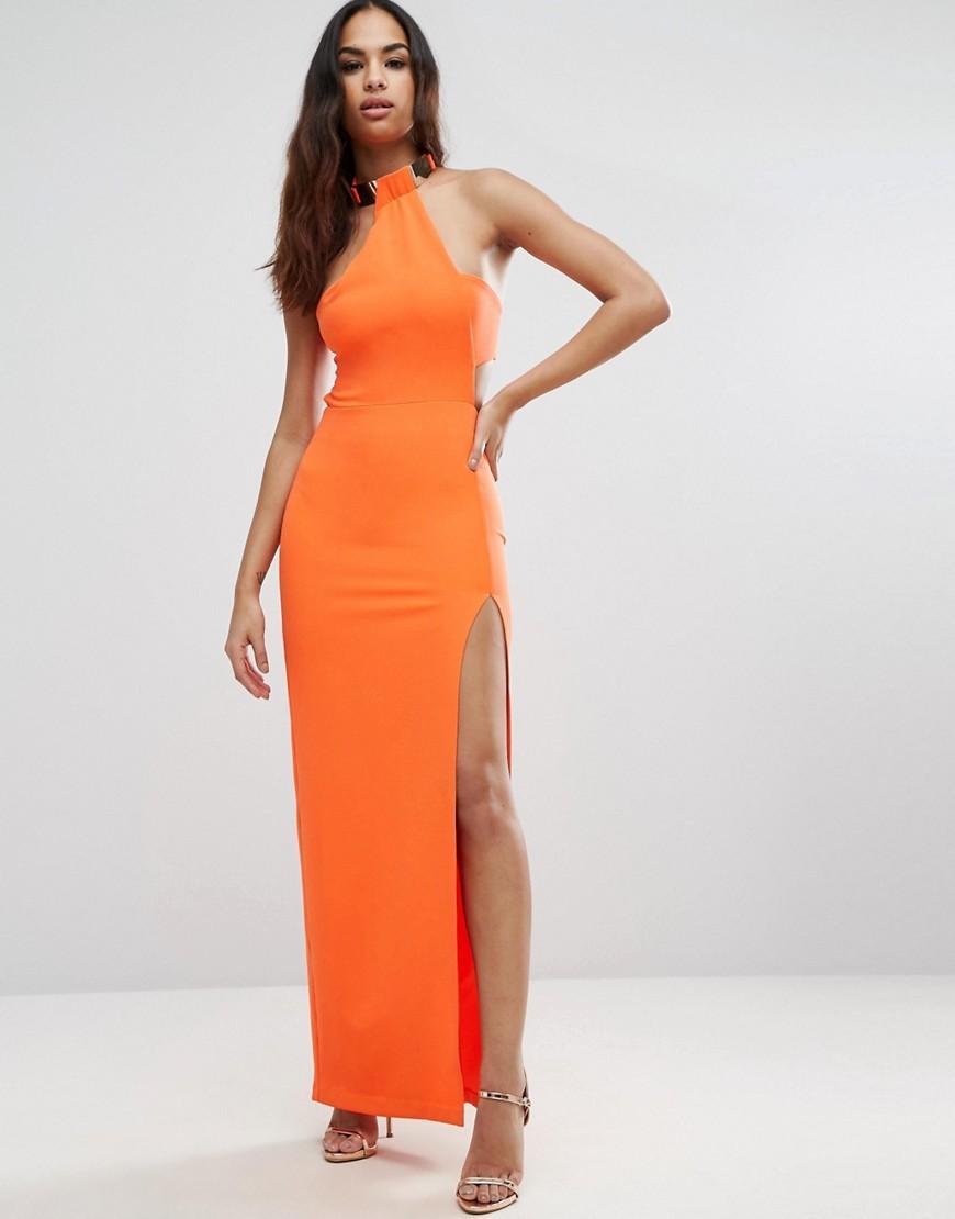 Asos Gold Bar Halter Maxi Dress Orange In Lyst
