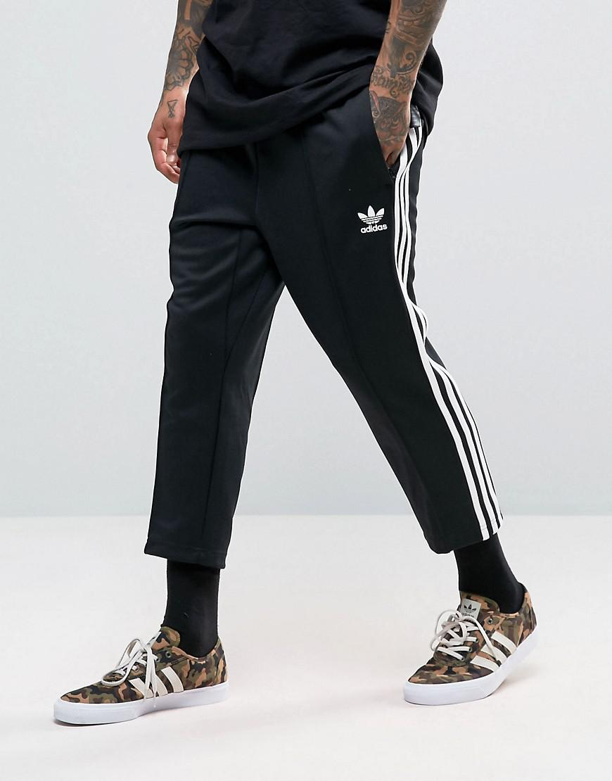 Adidas Originals Sst Relax Cropped Joggers In Black Bk3632