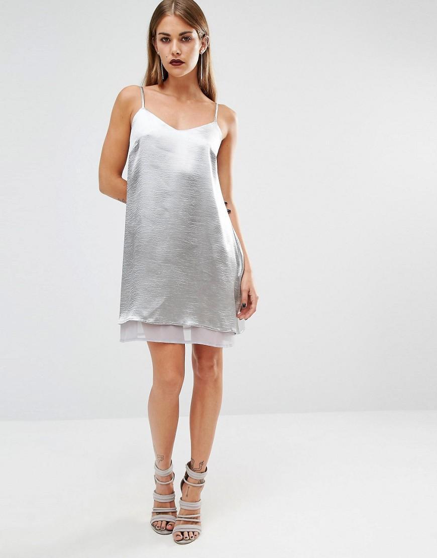 Silver Satin and Chiffon Dress