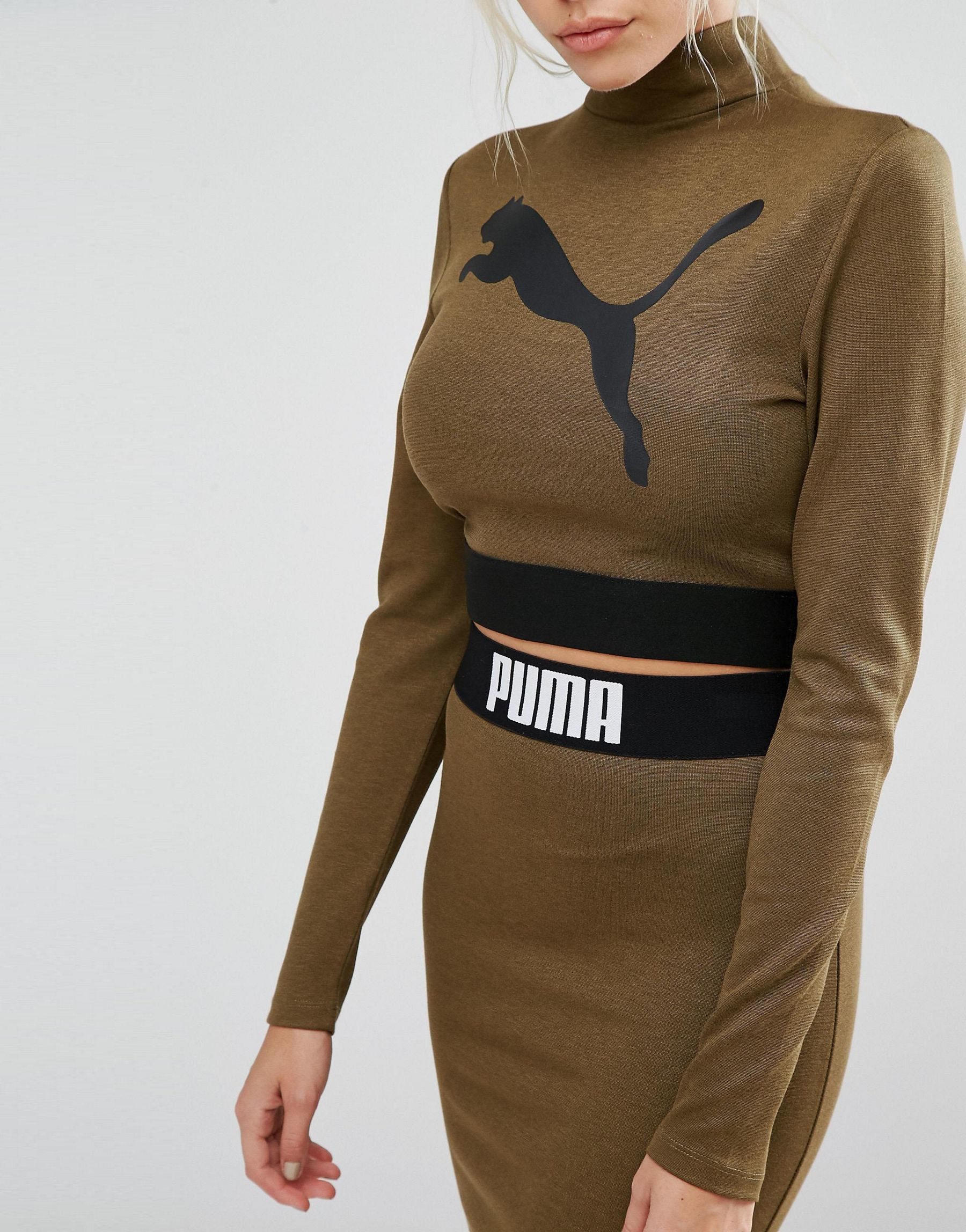 20ed480adff84 Lyst - PUMA Exclusive To Asos Long Sleeve Crop Top Co Ord in Green