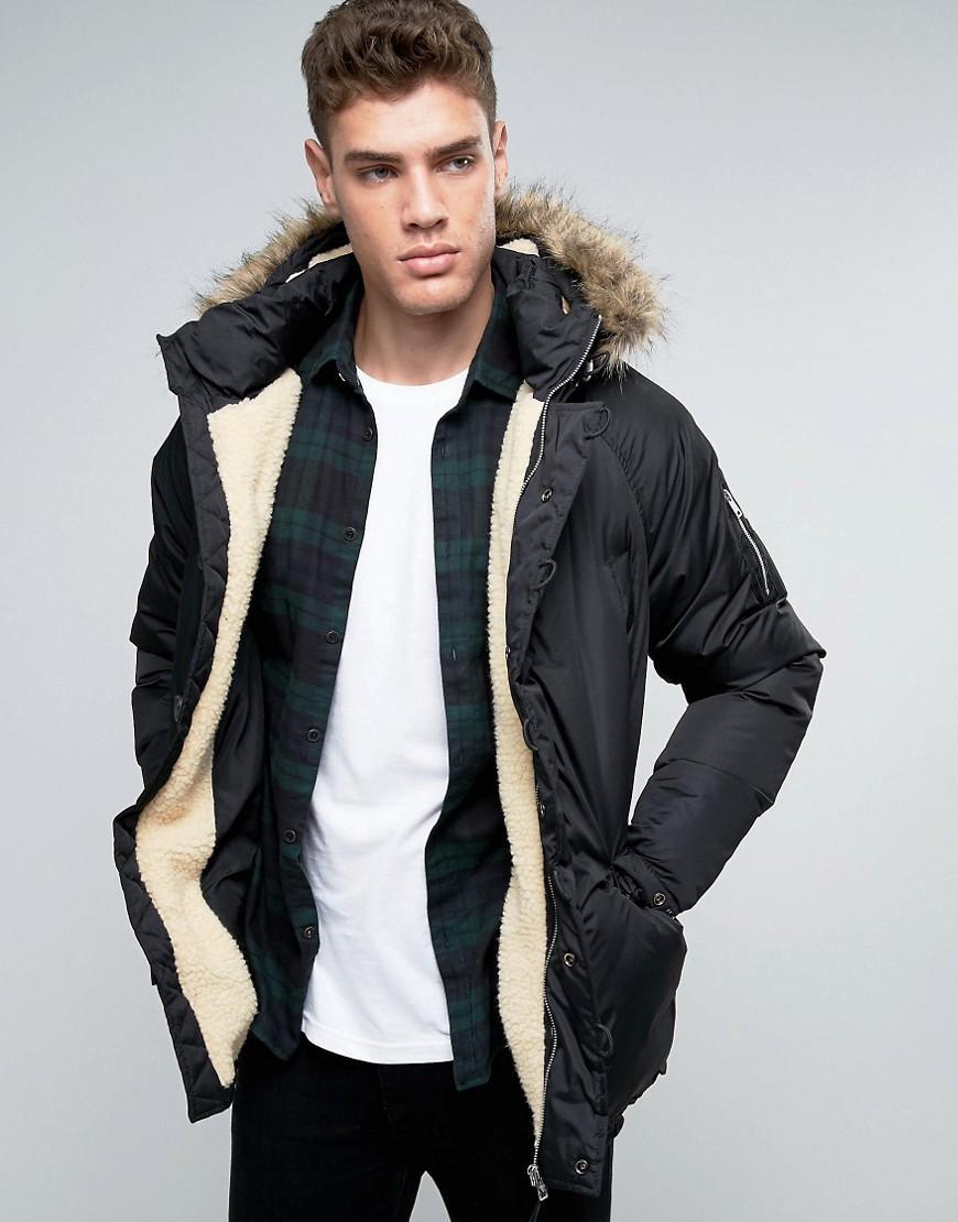 Men's parker jacket black