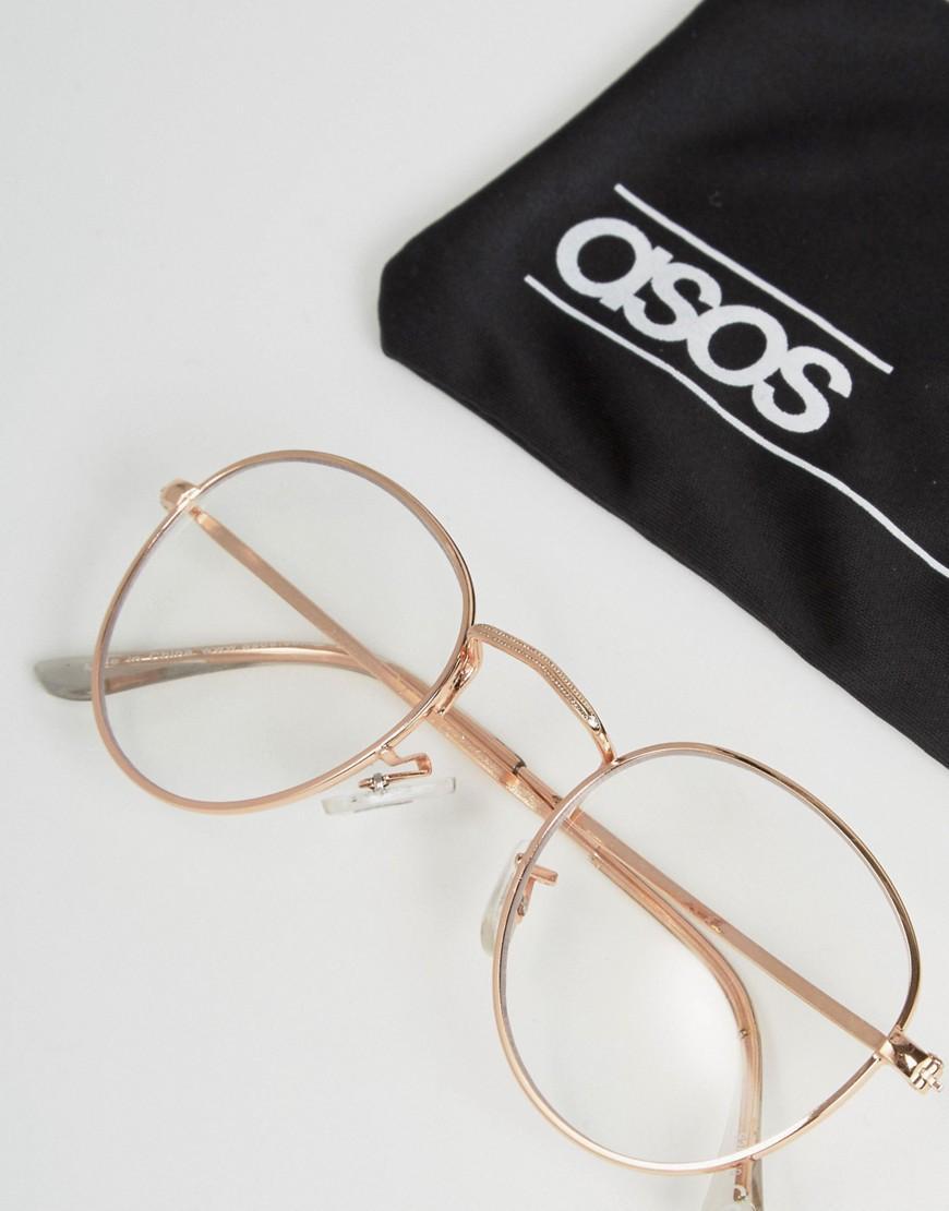 Lyst Asos Geeky Metal Round Clear Lens Glasses In Metallic