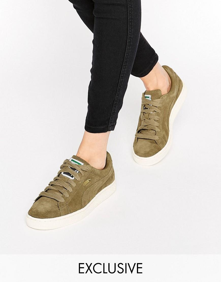 145392e6332 PUMA Exclusive To Asos Suede Basket Sneakers In Khaki - Lyst