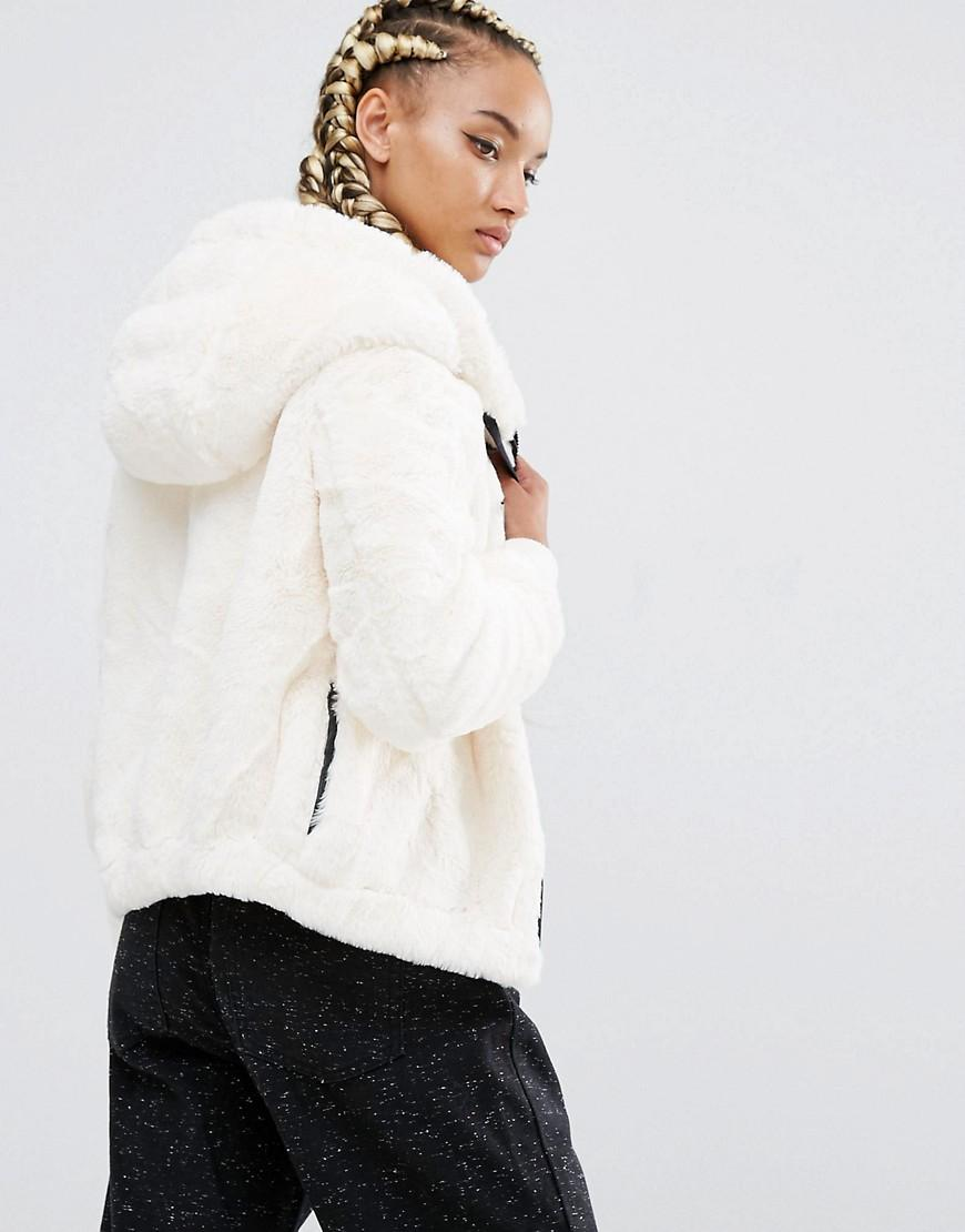 Pull Amp Bear Faux Fur Hooded Bomber Jacket Lyst