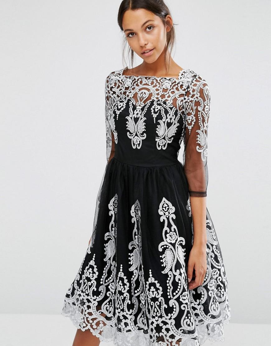 Lyst - Chi Chi London Premium Lace Midi Dress With Scalloped Back ... 71a9523c4d