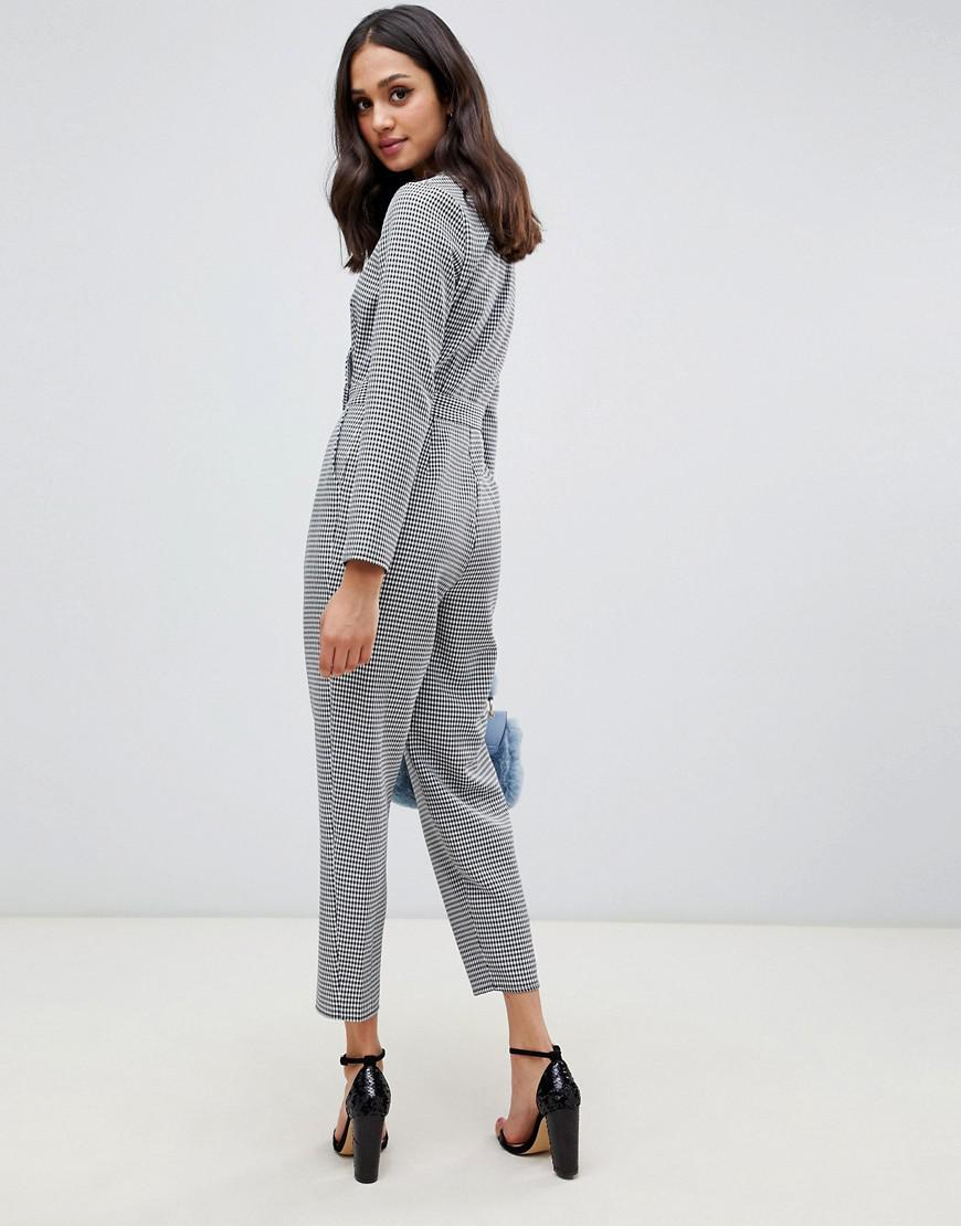 a43974261957 Miss Selfridge Jumpsuit With Button Detail In Dogtooth Print in Black - Lyst
