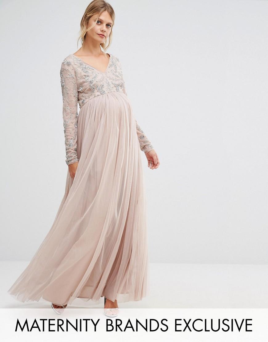 5f794326 Maya Maternity Long Sleeve Embellished Bodice Maxi Dress With Tulle ...