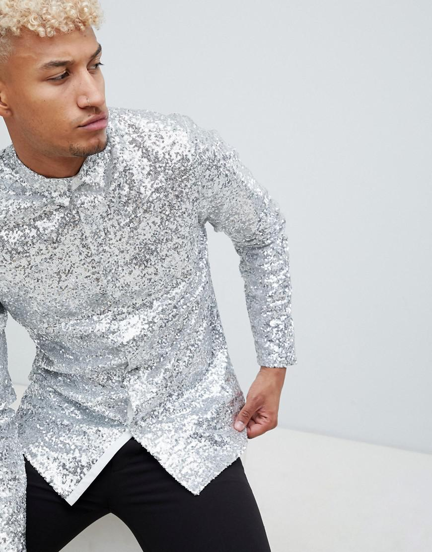 09df0e73656 ASOS Regular Fit Silver Sequin Shirt in Metallic for Men - Lyst