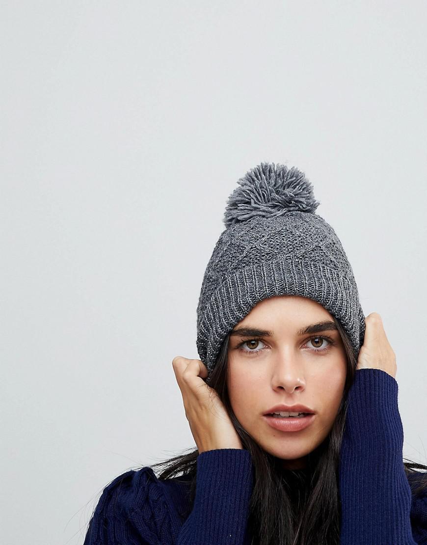 71cbf6e711b Lyst - Vincent Pradier Diamond Knit Grey Hat With Faux Pom Pom in Gray