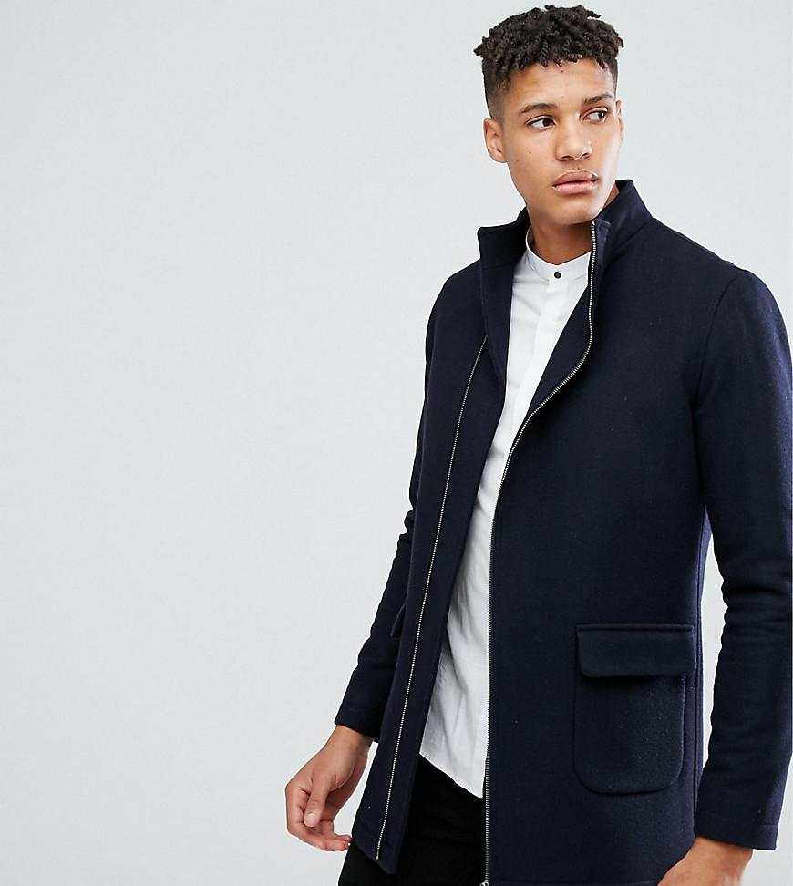 Noak Wool Tall Asymmetric Funnel Neck Overcoat In Navy