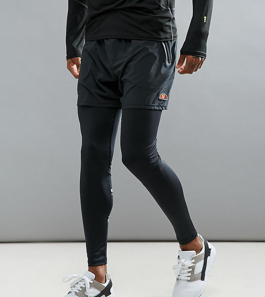 69bf9a4c0130d6 Ellesse Sport Running Tights With Short Overlay in Black for Men - Lyst