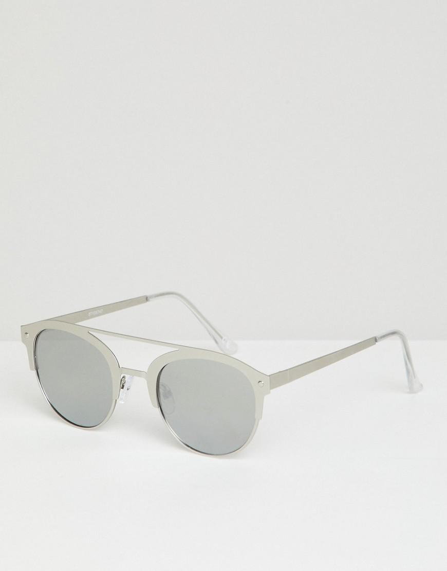 0b89b9e0e9e ASOS. Men s Metallic Retro Sunglasses In Brushed Silver Metal With Silver  Mirrored Lens