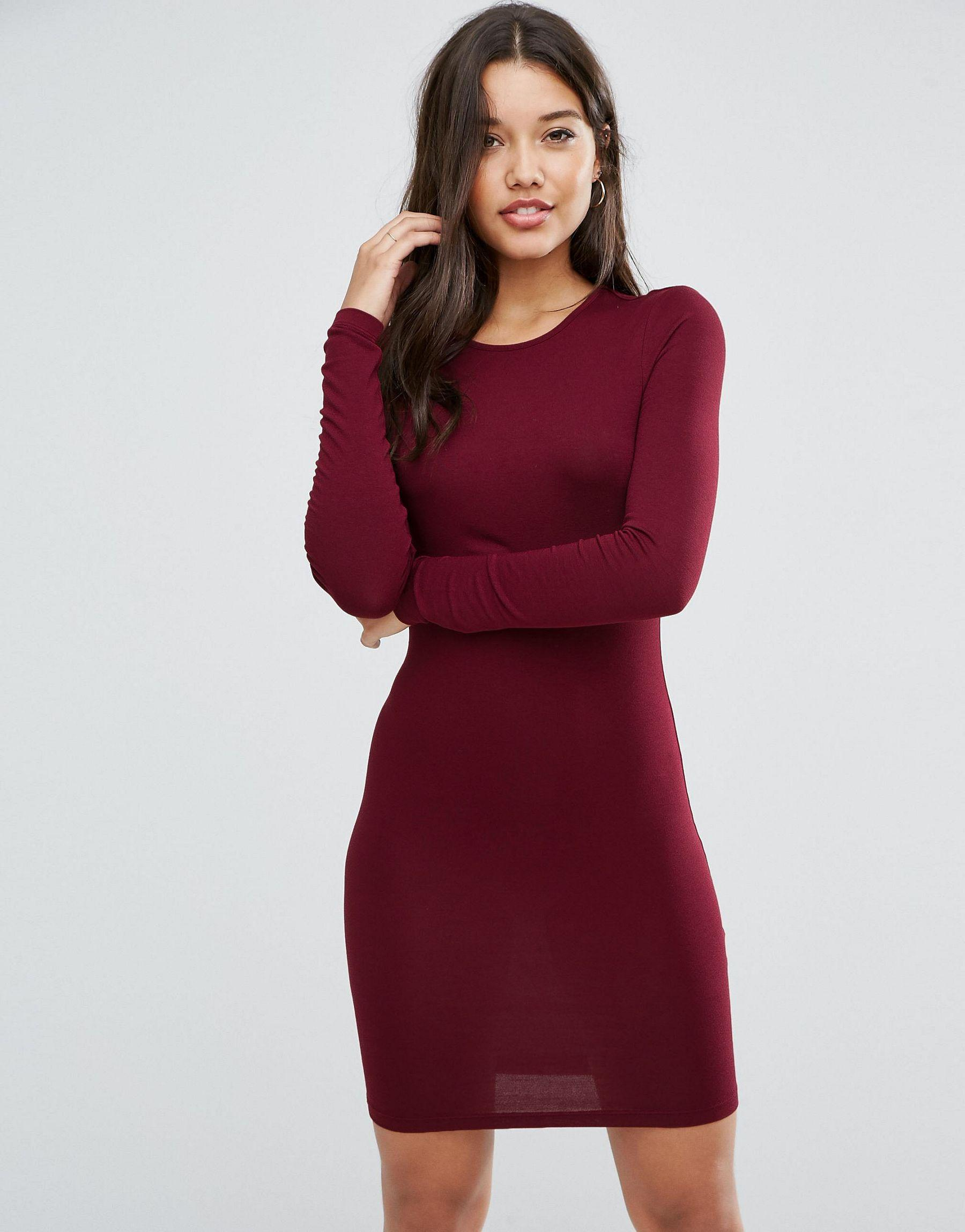 Asos Long Sleeve Bodycon Mini Dress in Red | Lyst