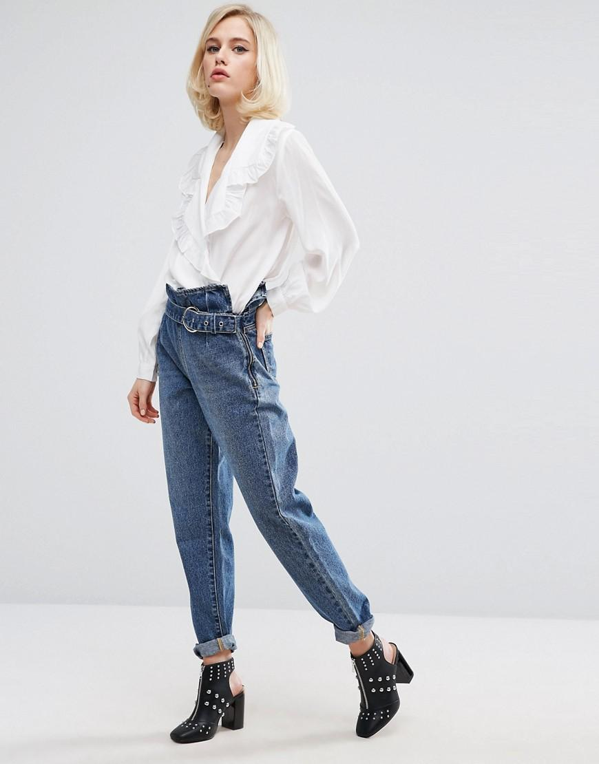 Lost Ink Mom Jeans With Paper Bag Waist In Blue Lyst