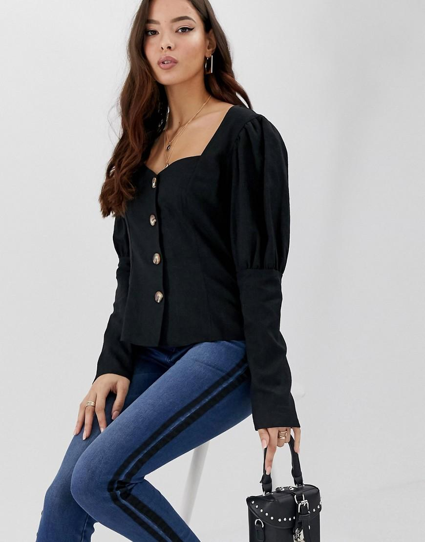 a7a123d03ffe69 ASOS Sweetheart Neck Long Sleeve Top In Linen With Contrast Buttons ...