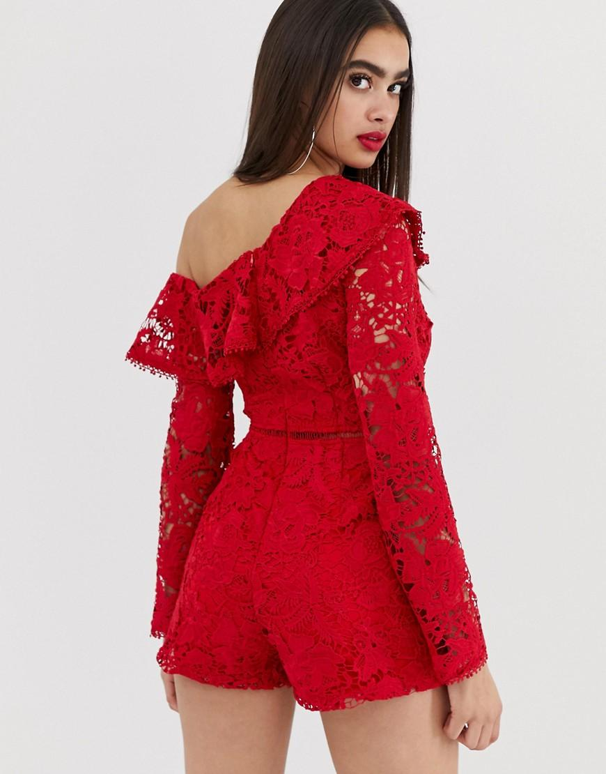 44e9c71deb Missguided Lace Playsuit With One Shoulder In Red in Red - Lyst