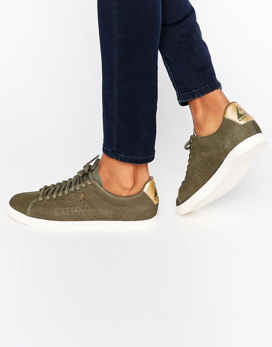 le coq sportif exclusive to asos charline sneakers in khaki nubuck leather in green lyst. Black Bedroom Furniture Sets. Home Design Ideas