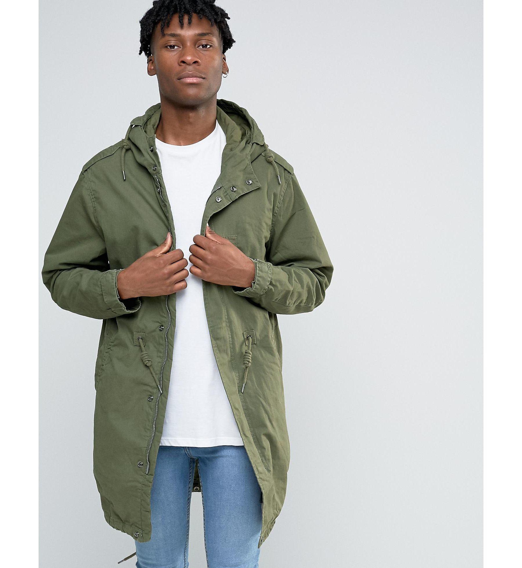 Pull&bear Parka Jacket In Khaki in Green for Men | Lyst