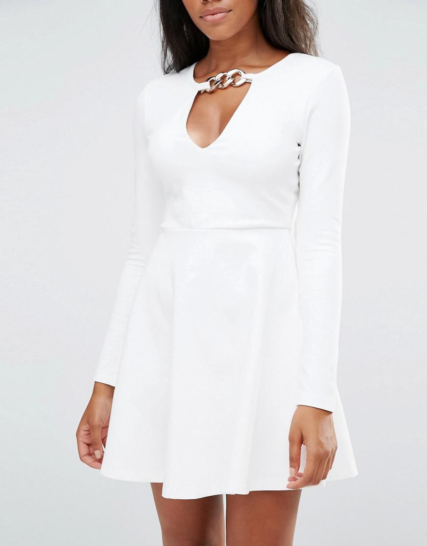 Millie Mackintosh Long Sleeve Skater Dress With Chain