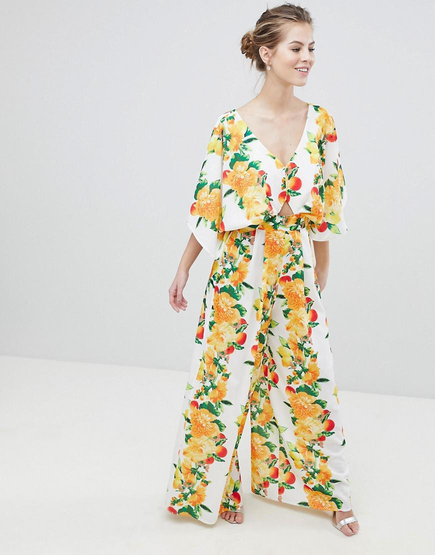 52485a903422 Lyst - ASOS Kimono Jumpsuit With Wide Leg In Fruit Print