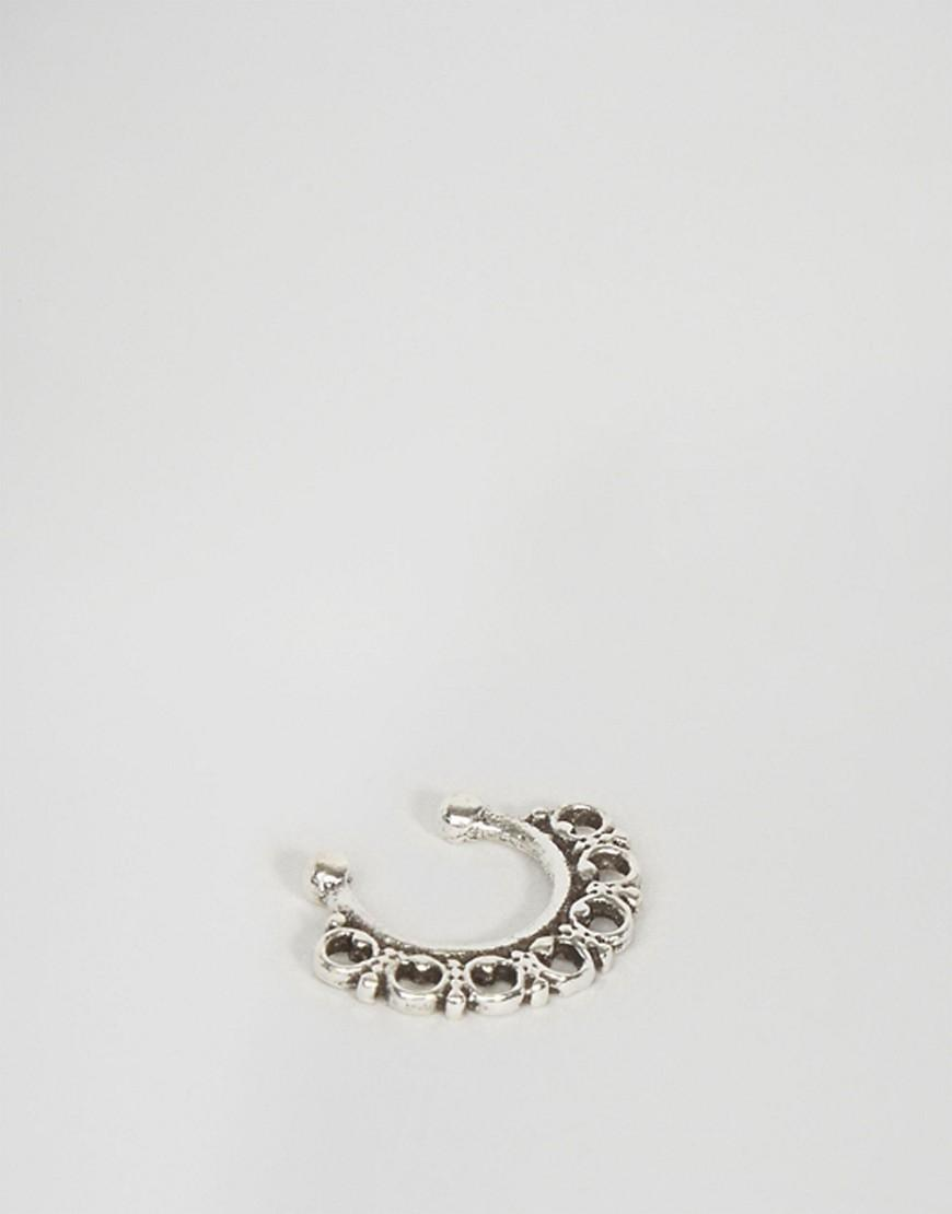 kingsley multi circle faux septum nose ring silver
