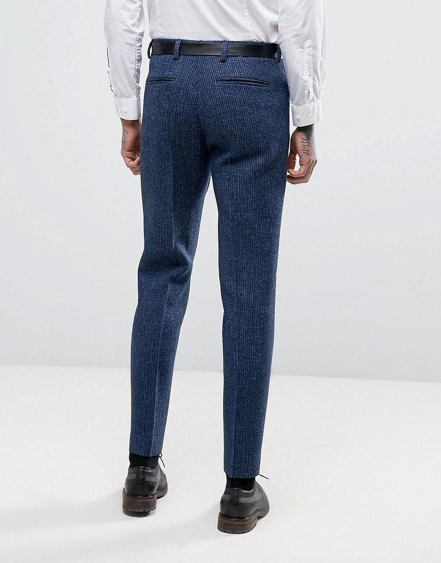 WEDDING Slim Suit Trousers in Harris Tweed Check In 100% Wool - Blue Asos 9JBYYy